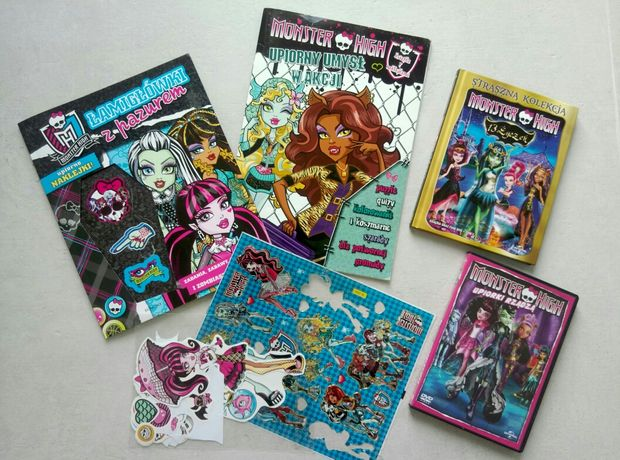 Monster High filmy DVD książki + naklejki gratis