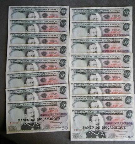 Notas Moçambique de 50 escudos 1970 e 100 escudos 1961 novas