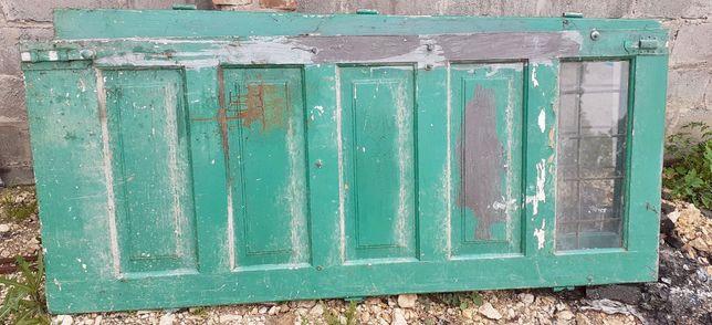 Drzwi pełne lite drewno bardzo solidne do odnowienia dwa skrzydła