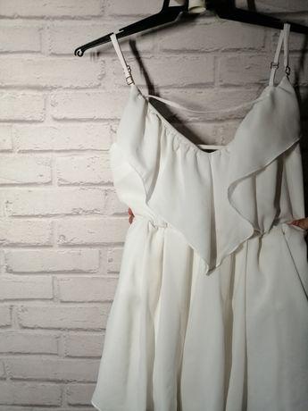 Sukienka biała z falbankami odkryte plecy ecru XS S