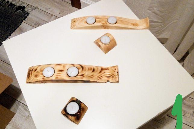 Świecznik drewniany ozdoby drewniane rękodzieła