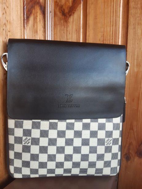 VIP КАЧЕСТВО! Стильная мужская кожаная сумка Louis Vuitton ОПТ