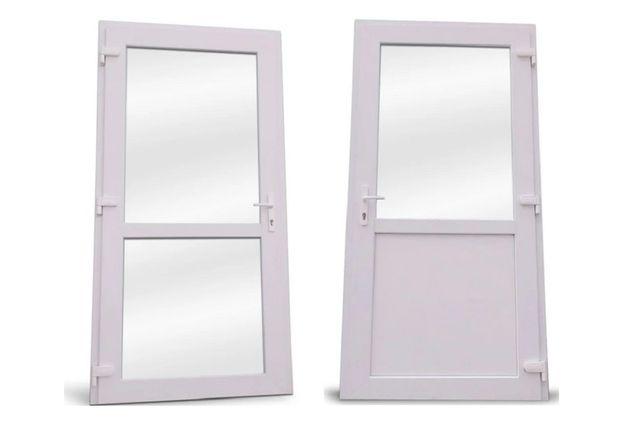 Drzwi zewnętrzne PCV 1100x2100 białe sklepowe OD RĘKI transport NOWE