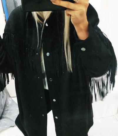 Czarna koszula Zara z frędzlami kurtka koszulowa Zara oversize 38 m 40
