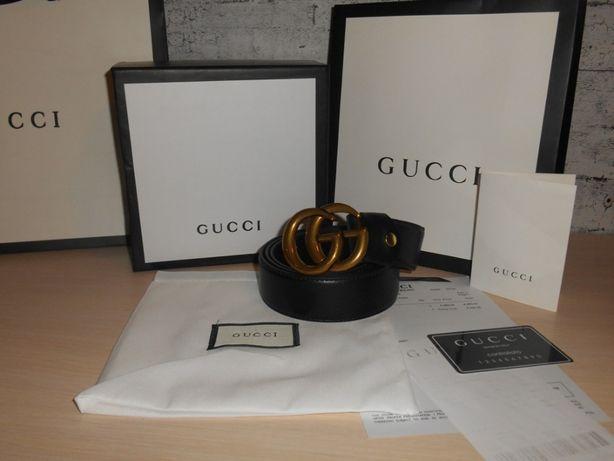 Gucci Męski damski pasek firmowy, skóra naturalna, Włochy 133