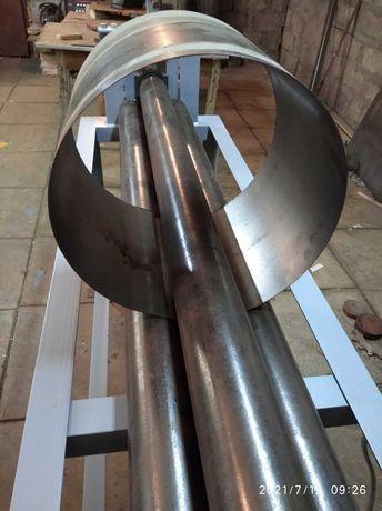 Гибка листовой стали на вальцах, сварка аргоном, полуавтоматом.