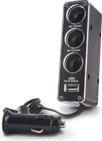 Ładowarka Forever Rozdzielacz gniazda samochodowego 3w1 z gniazdem USB