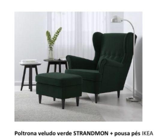 Poltrona e pousa pés veludo IKEA