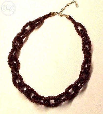 Naszyjnik lancuch haft koralikowy