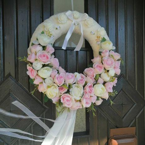 Duży wieniec wianek na ślub ręcznie robiony