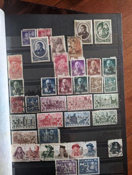 Coleção de 500 selos antigos, maioria portugueses