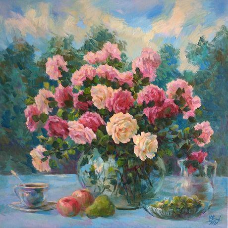 """Картина маслом """"Букет роз на летней террасе""""Ю.Бирд"""