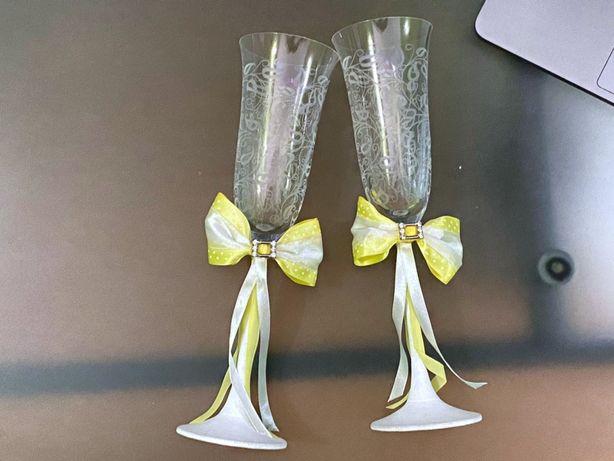 Свадебные бокалы (свадьба атрибутика аксессуары праздник желтый пудра)