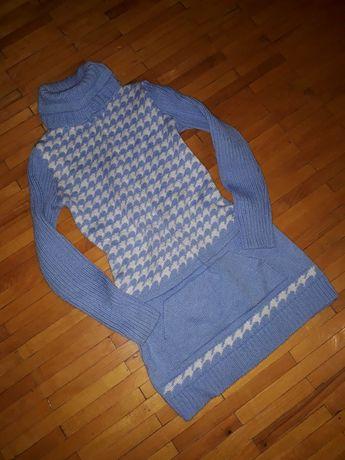 Туніка-плаття-светр голубий білий теплий, теплое платье-свитр голубое
