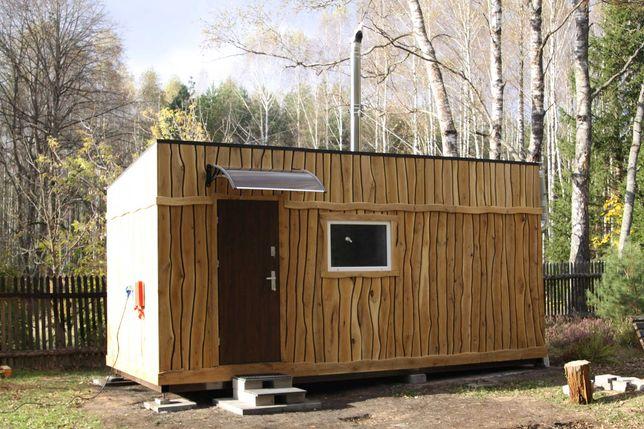 Sauna ogrodowa, zewnętrzna z piecem na drewno