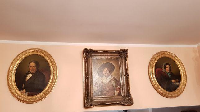 XIX w Portrety Szlachcica i Szlachcianki Olej na Płótnie w XIXw Ramach