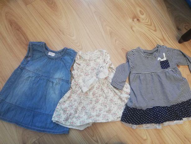 Śliczne sukienki dla dziewczynki rozmiar74 -cena za całość-
