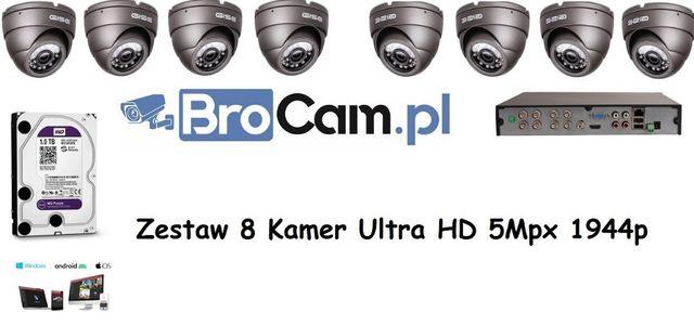 Zestaw 4-16 kamer 5mpx UltraHD Instalacje kamer monitoringu Warszawa