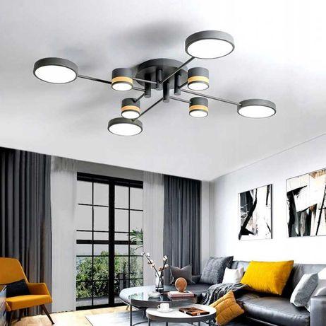 LAMPA Sufitowa 8-RAMIENNA LED Szara Grey LED