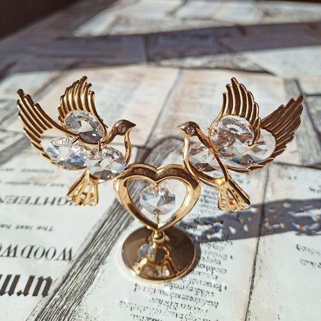 "Crystocraft Фигурка/Статуэтка ""Два голубя на сердце/Сердце с голубями"""
