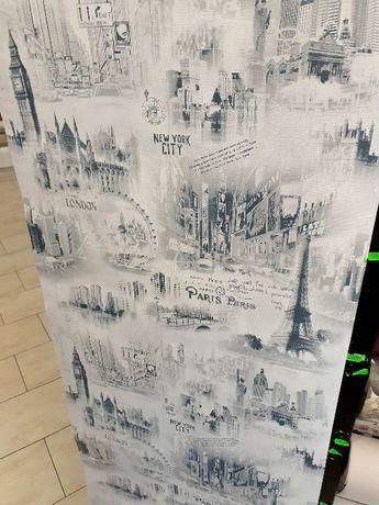 """Gruba tapeta papierowa, """"miasta""""."""