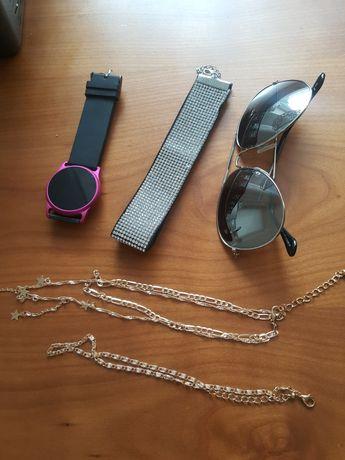 Dodatki zegarek choker naszyjnik okulary