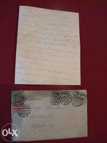 Stary list, koperta z 1922 r. Pszczyna