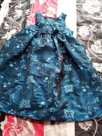 Sukienka dla dziewczynki w kolorze ciemna zieleń 122