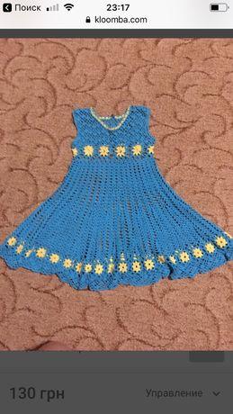 Платье,сарафан ручна работа ирландское кружево от 3 до 6 лет,вязаное к