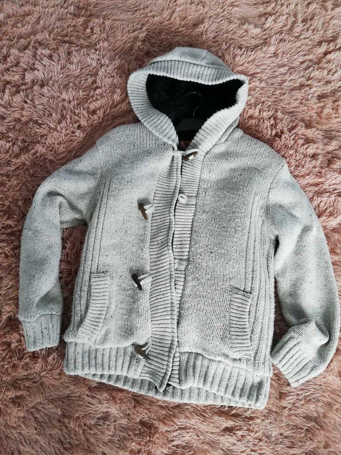 Gruby męski sweter z futrem, beżowy rozmiar M/L. Warszawa - image 1