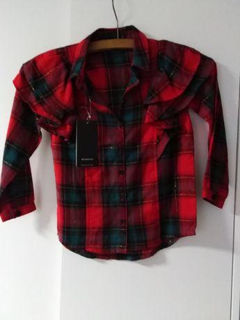 Nowa koszula z metką Reserved 110r. czerwona ze złotą nitką święta