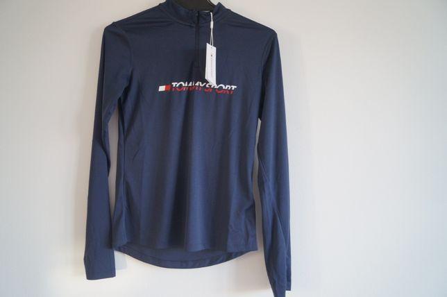 Tommy Sport Zip Basic Layer Tee koszulka sportowa niebieska rozmiar XS