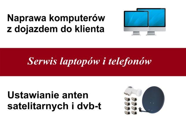 Naprawa komputerów, telefonów Ustawianie anten satelitarnych i DVB-T