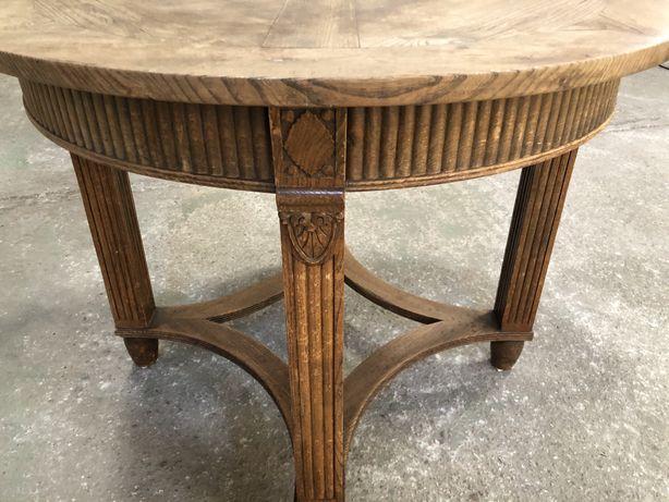 Stół okrągły drewniany zabytkowy