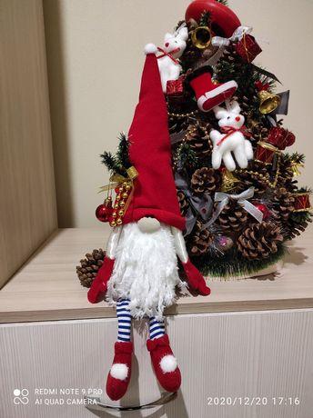Гном новогодний гном рождественский, текстильная кукла,декор для дома