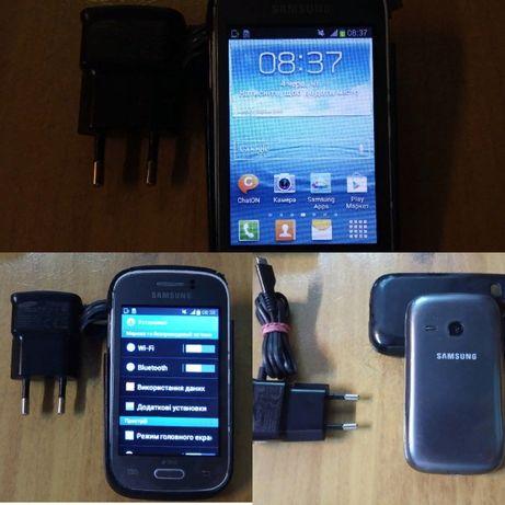 Смартфон Samsung Galaxy с зарядкой в чехле на 2 сим-карты Android