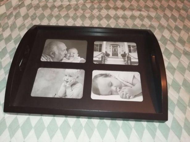 Taca drewniana ze zdjęciami