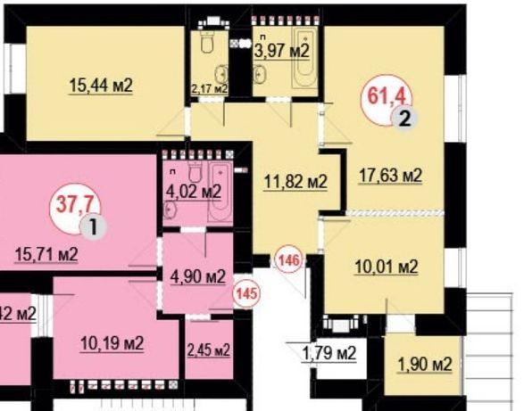2-кім квартира 62 м2 за доступною ціною район вул. Мазепи,біли озера