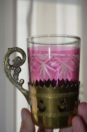 szklanka kryształ szkło z uchwytem