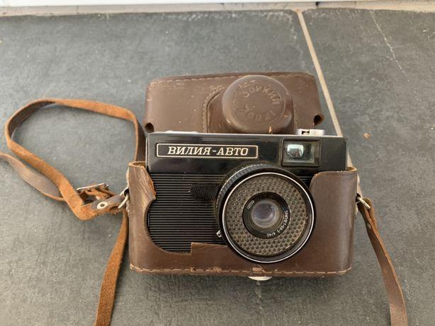 Старый фотоаппарат Вилия-Авто в кожаном чехле