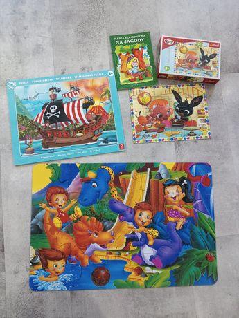 Puzzle książka : statek piracki , bing , dinozaury i na jagody