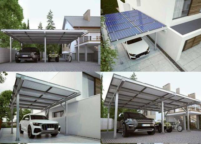 Wiata Fotowoltaiczna aluminiowa 1 auto, CarPort 3,7kW LONGI prezent