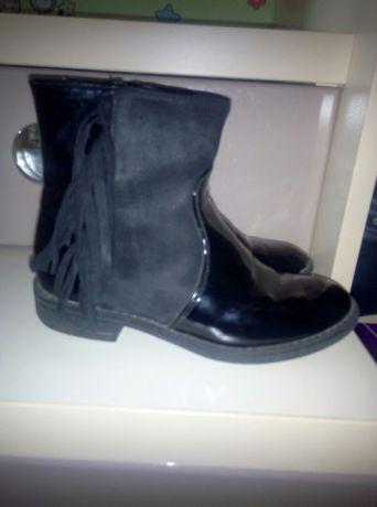 Кожанные ботинки сапоги демисезон