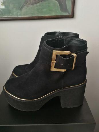 czarne botki z klamerką ASOS 4 ankle boots