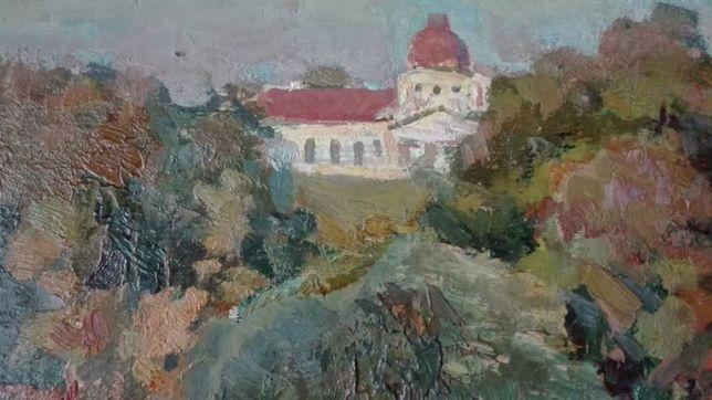 Пейзаж с Замком на горе 1968г. Чернигов Художник И.Горовой