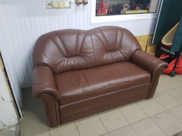 Sofa skórzana funkcja spania 2 osobowa kanapa skóra jak nowa