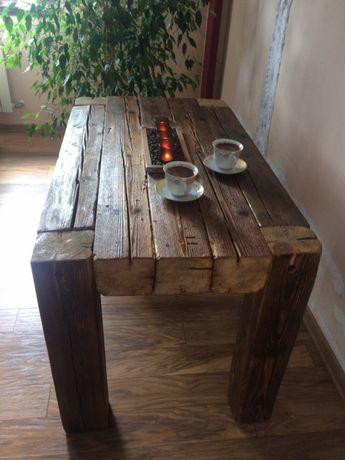 Stół rustykalny, stolik kawowy z bali stare drewno