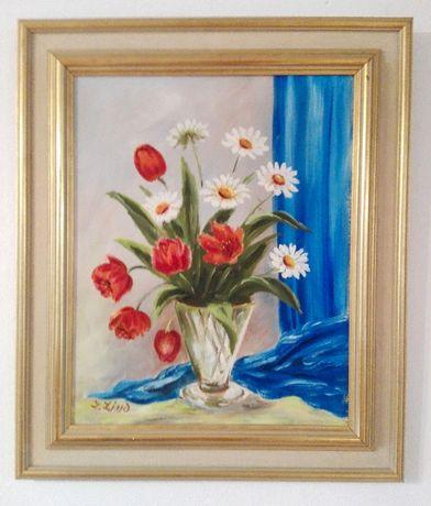 Stary obraz olejny martwa natura - polne kwiaty 63/53