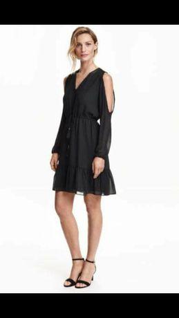 H&M sukienka czarna z wycieciami na ramionach