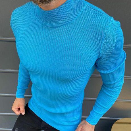 Свитер голубой, жёлтый. Красная кофта. Зимний вязаный свитр зелёный